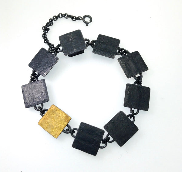 Oxidized Sterling Chain Square Link Bi-Metal Bracelet
