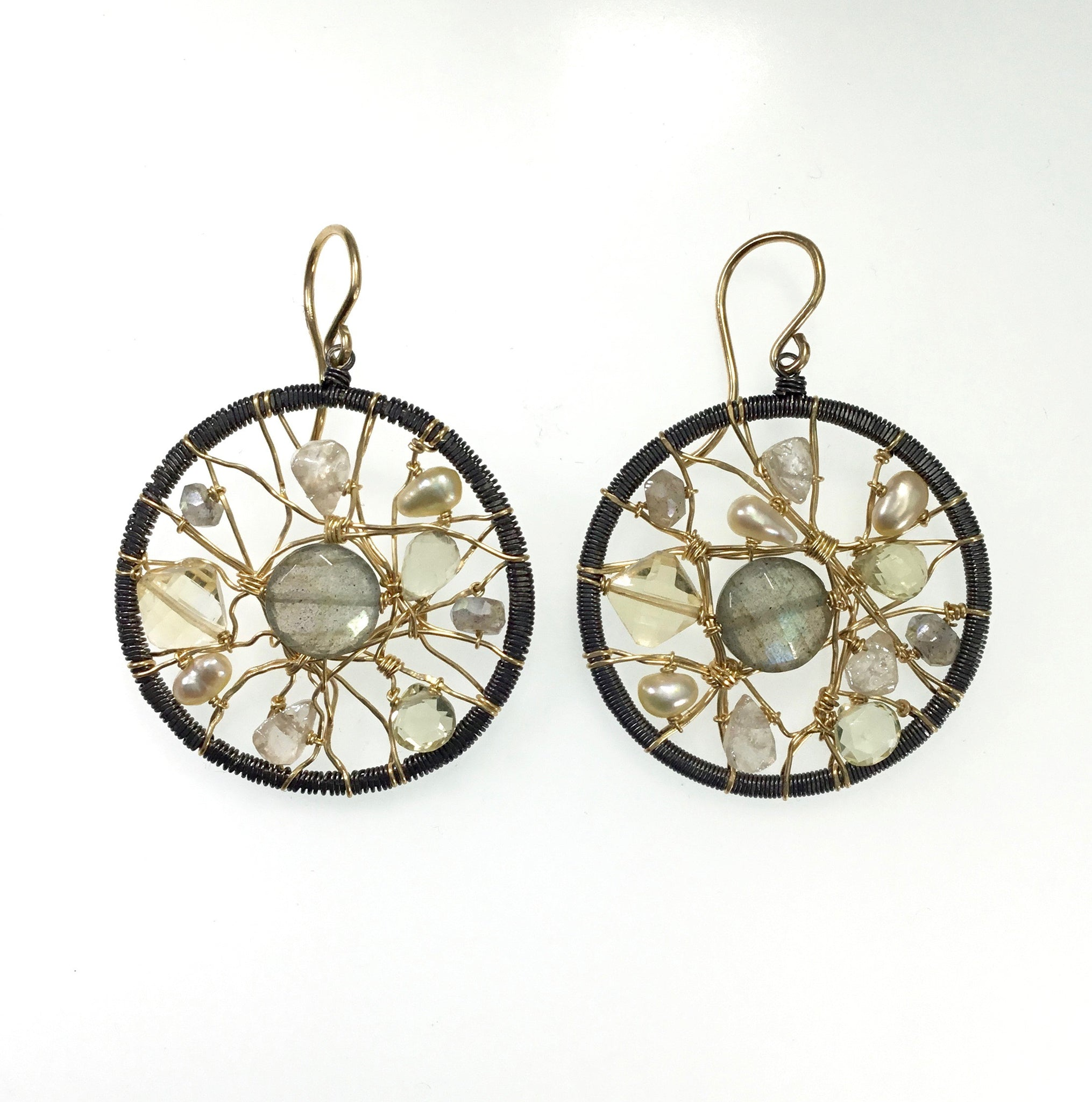 Dana Kellin Oxidized Silver & Gold Filled Earrings with Stone Mix
