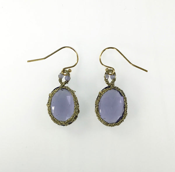 Danielle Welmond Caged Iolite and Tanzanite Earrings