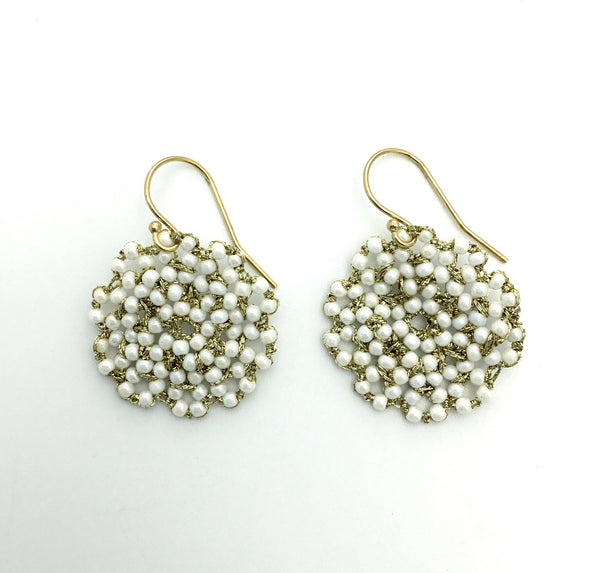 Danielle Welmond Woven White Pearl Earrings