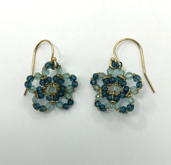 Danielle Welmond Woven Blue Quartz and Apatite Earrings