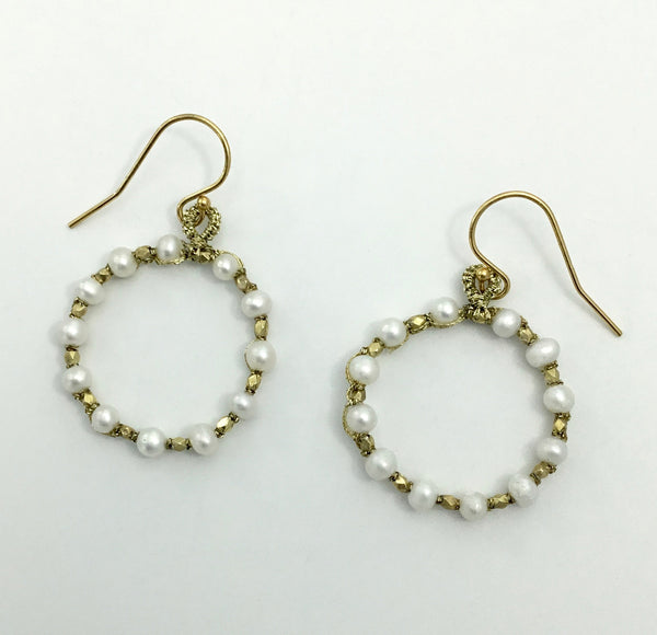 Danielle Welmond Woven Circle Pearl Earrings