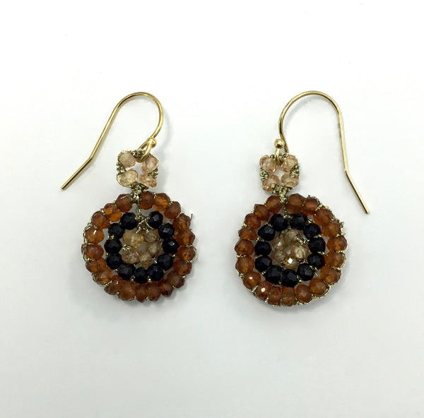 Danielle Welmond Woven Hessonite and Black Spinel Earrings