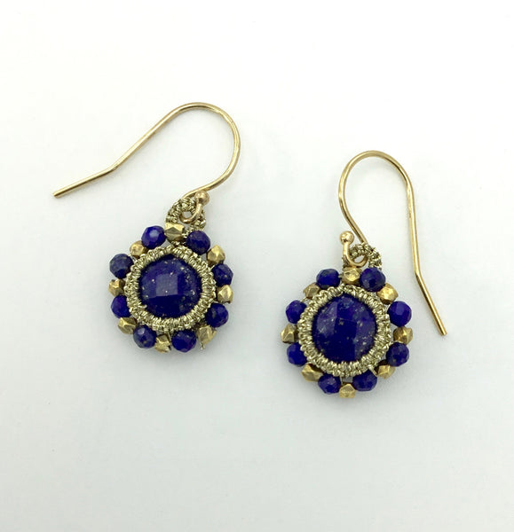 Danielle Welmond Caged Lapis and Vermeil Bead Earrings