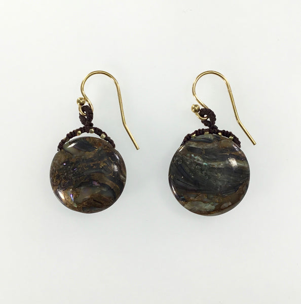 Danielle Welmond Woven Abalone and Vermeil Bead Earrings