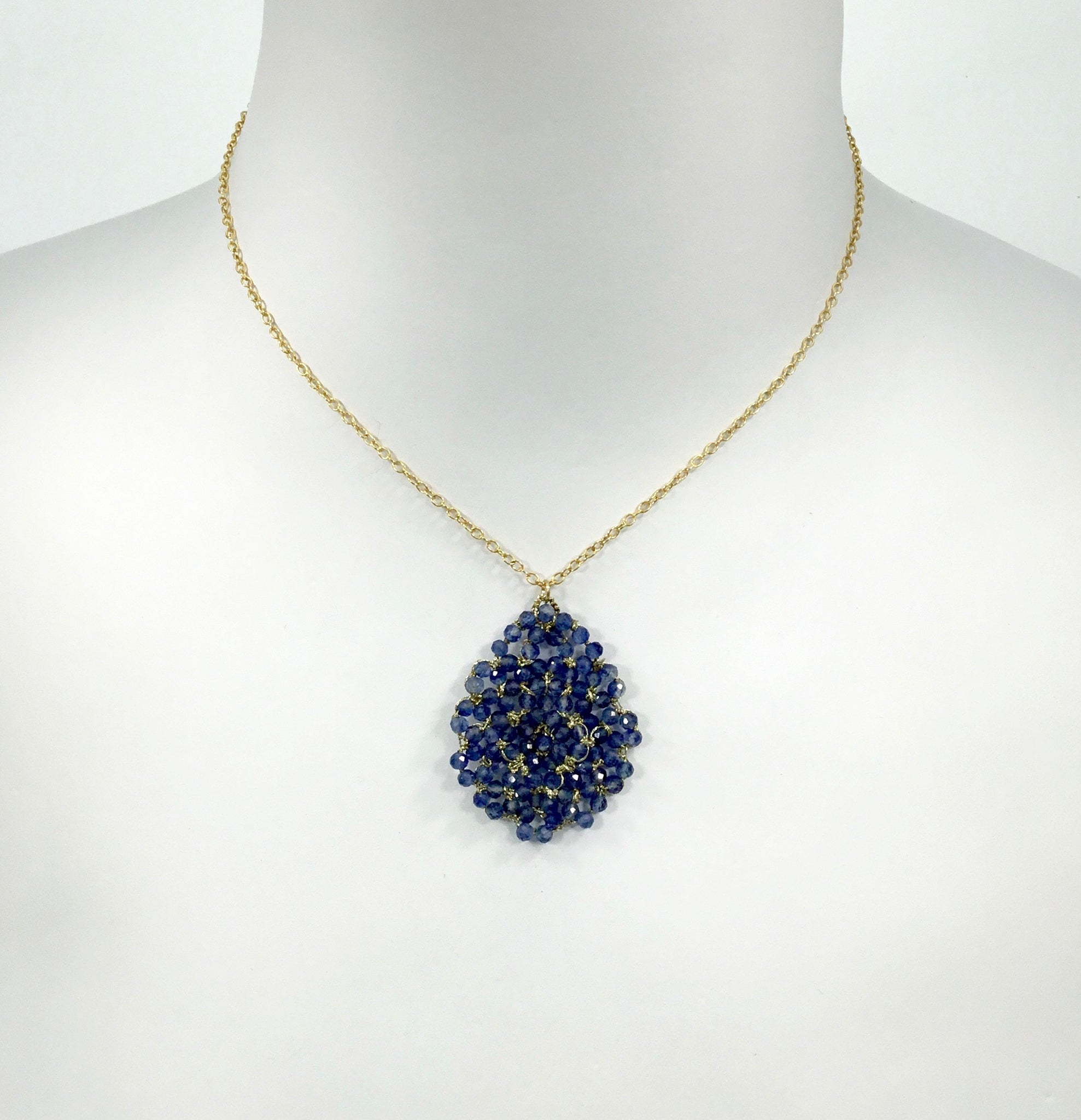 Danielle Welmond Kyanite Lace Pear Necklace