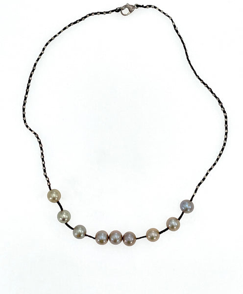 Danielle Welmond Woven Silk Cord and Pearl Necklace
