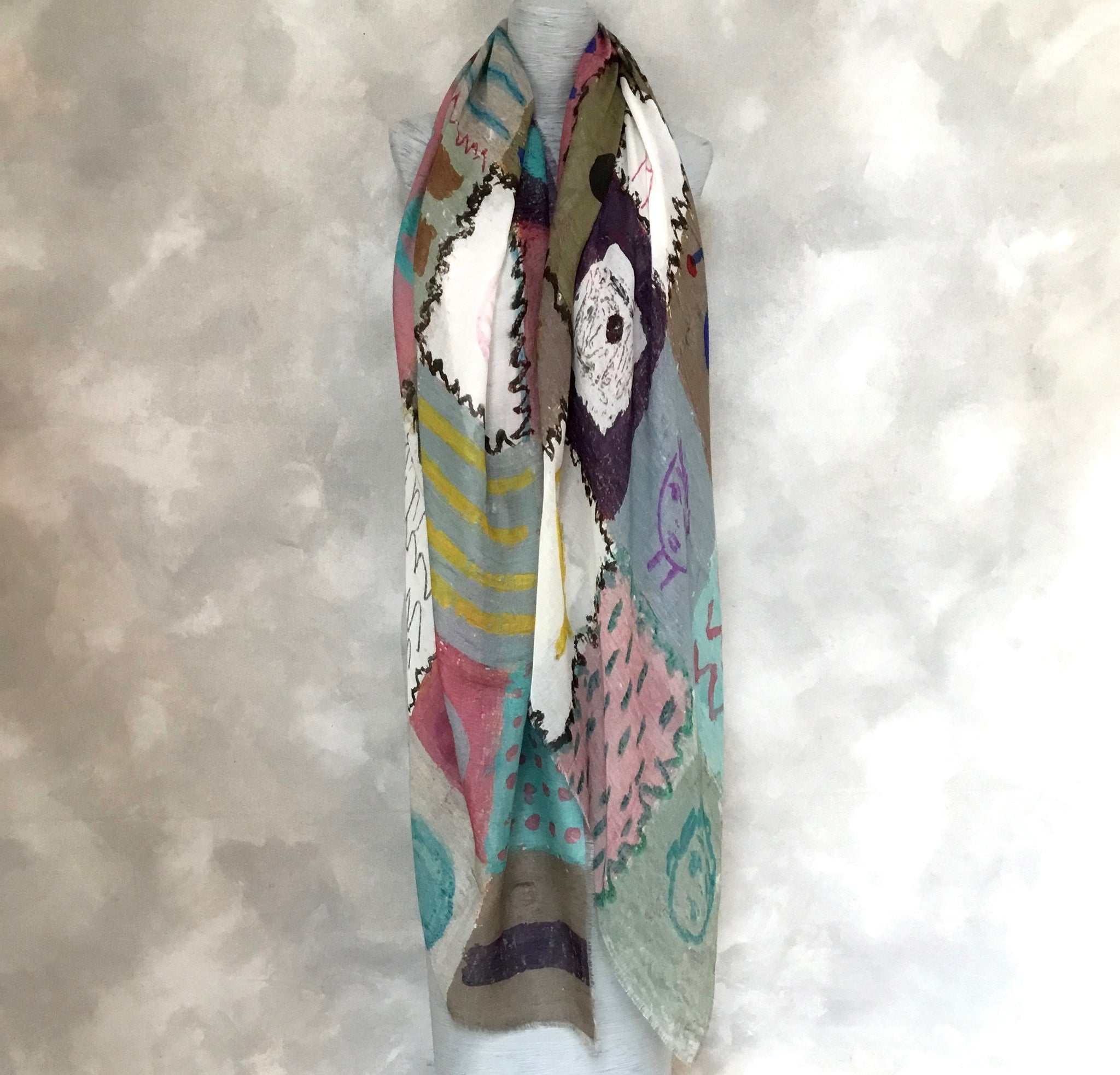 English Weather Naive-style Print Scarf