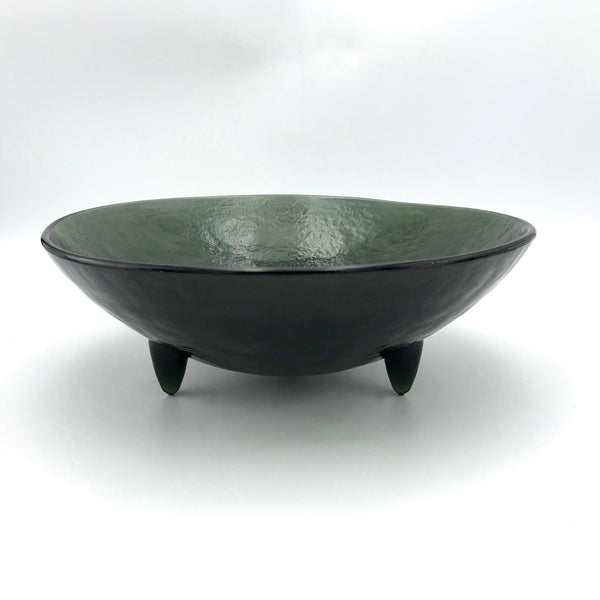 "Hudson Beach Glass 10"" Spike Bowl in Onyx"