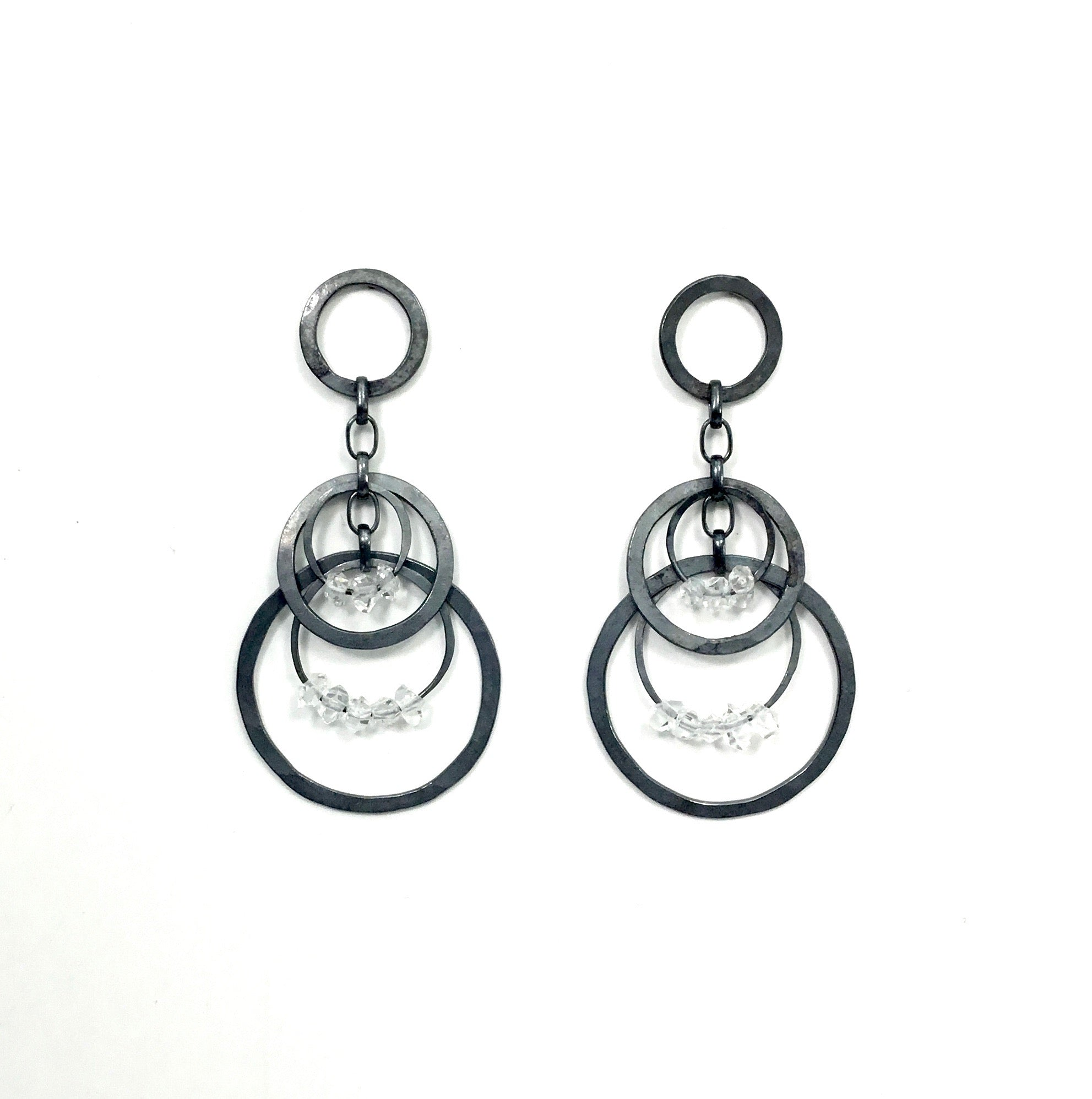 Heather Guidero Circle Bunch Herkimer Earrings