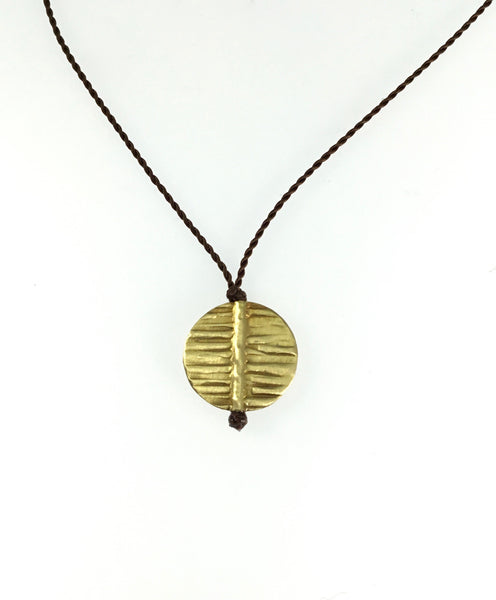 Margaret Solow 20k Ridged Disc Necklace