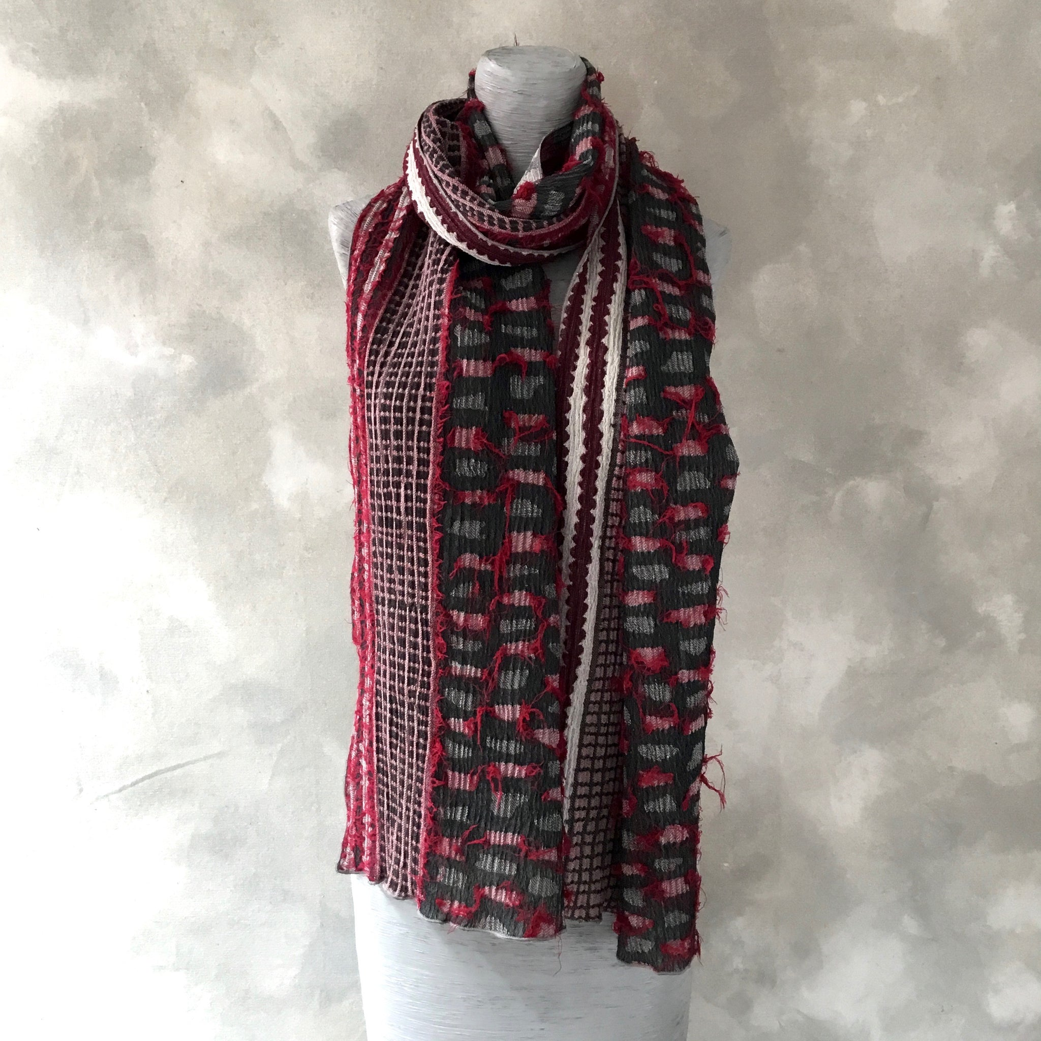 Nuno Red & Charcoal Cotton & Wool Scarf