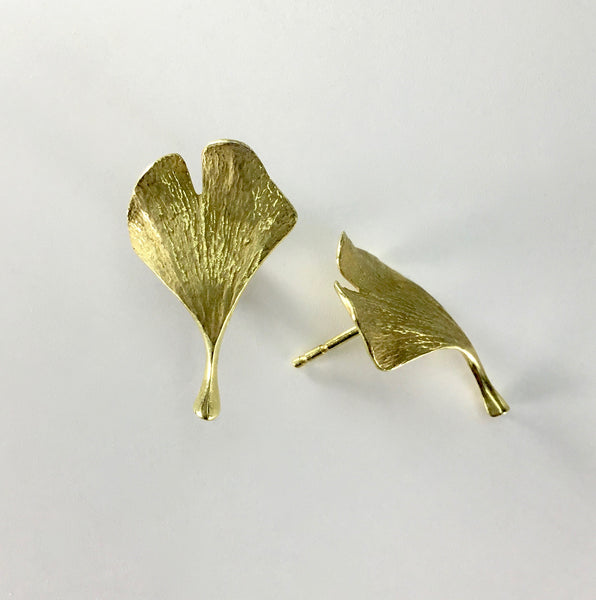 John Iversen 18kt Ginkgo Leaf Earrings