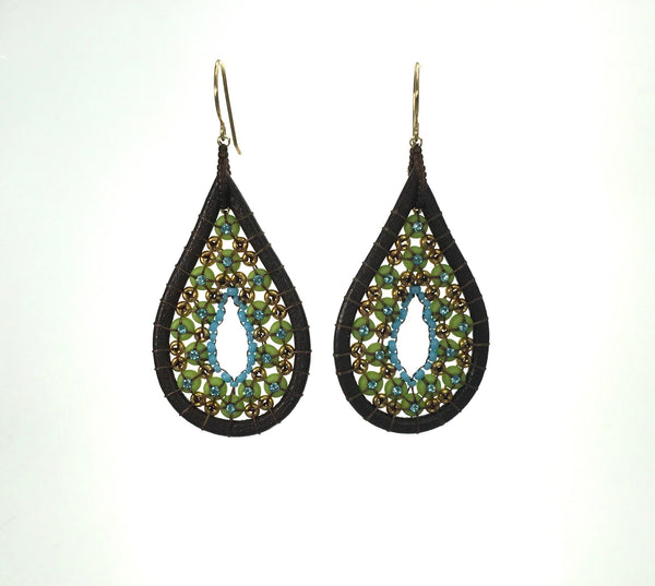 Miguel Ases Swarovski and Leather Bead Earrings