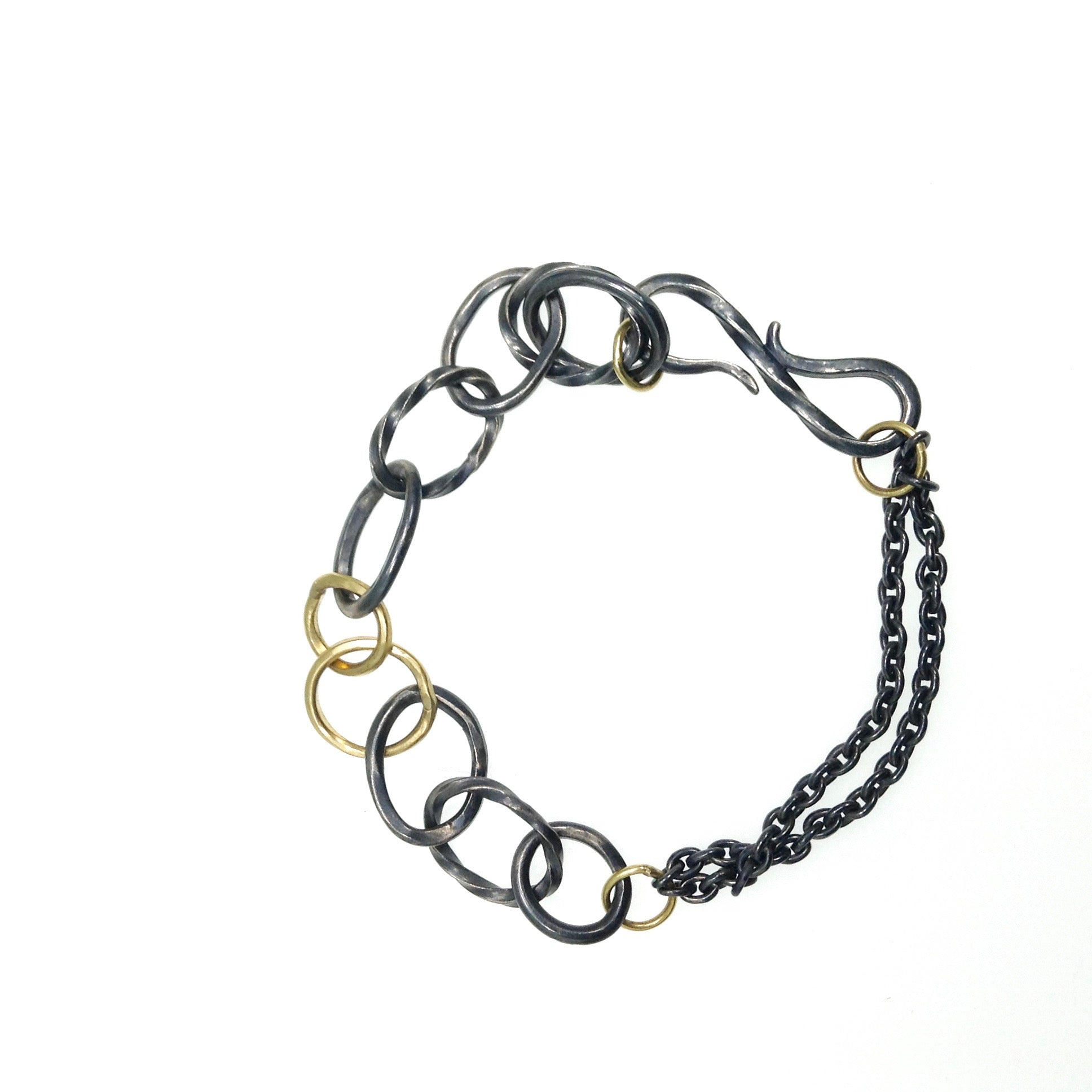 Oxidized Sterling Link Bracelet with 18k
