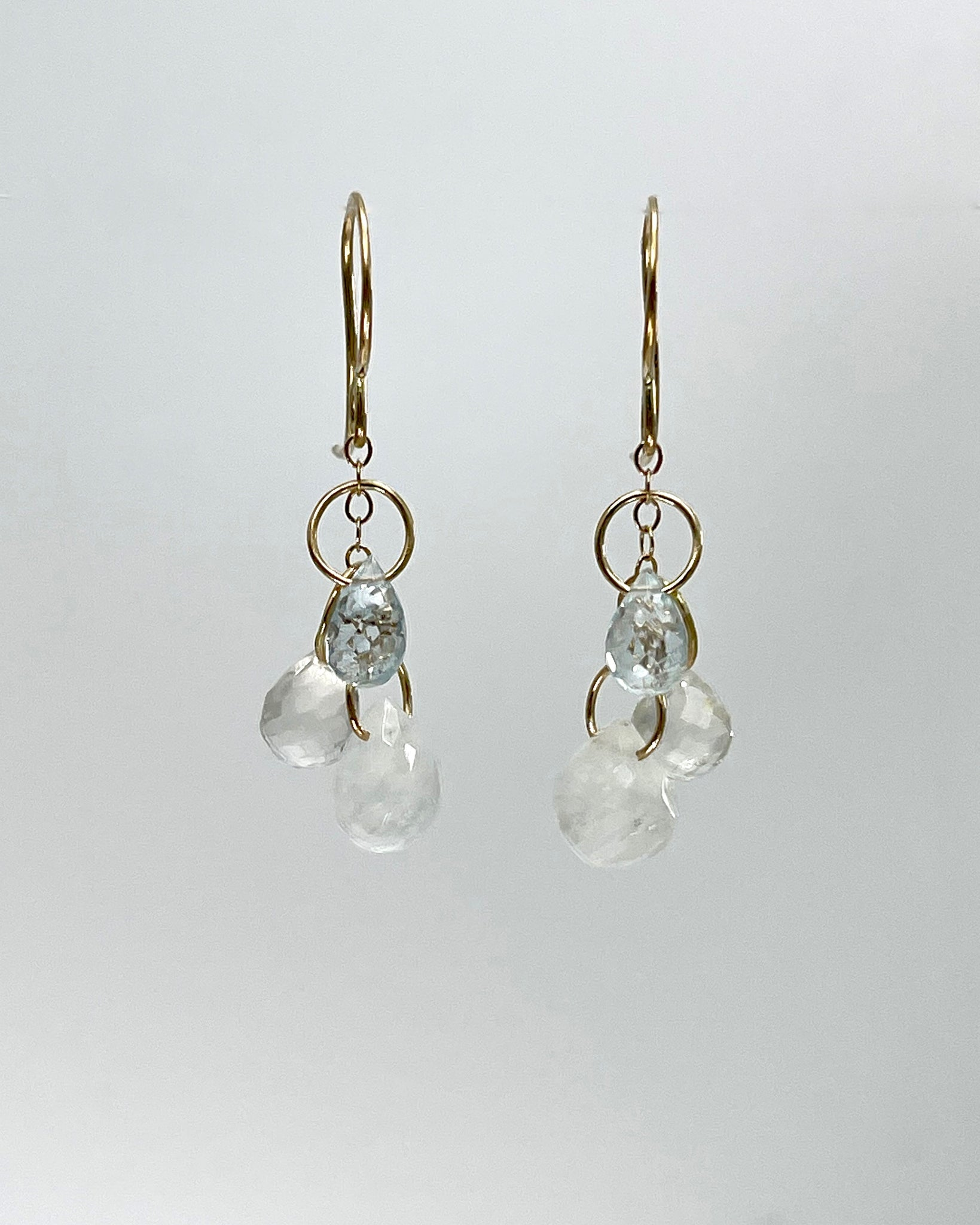 Melissa Joy Manning 14k Triple Drop Gemstone Earrings