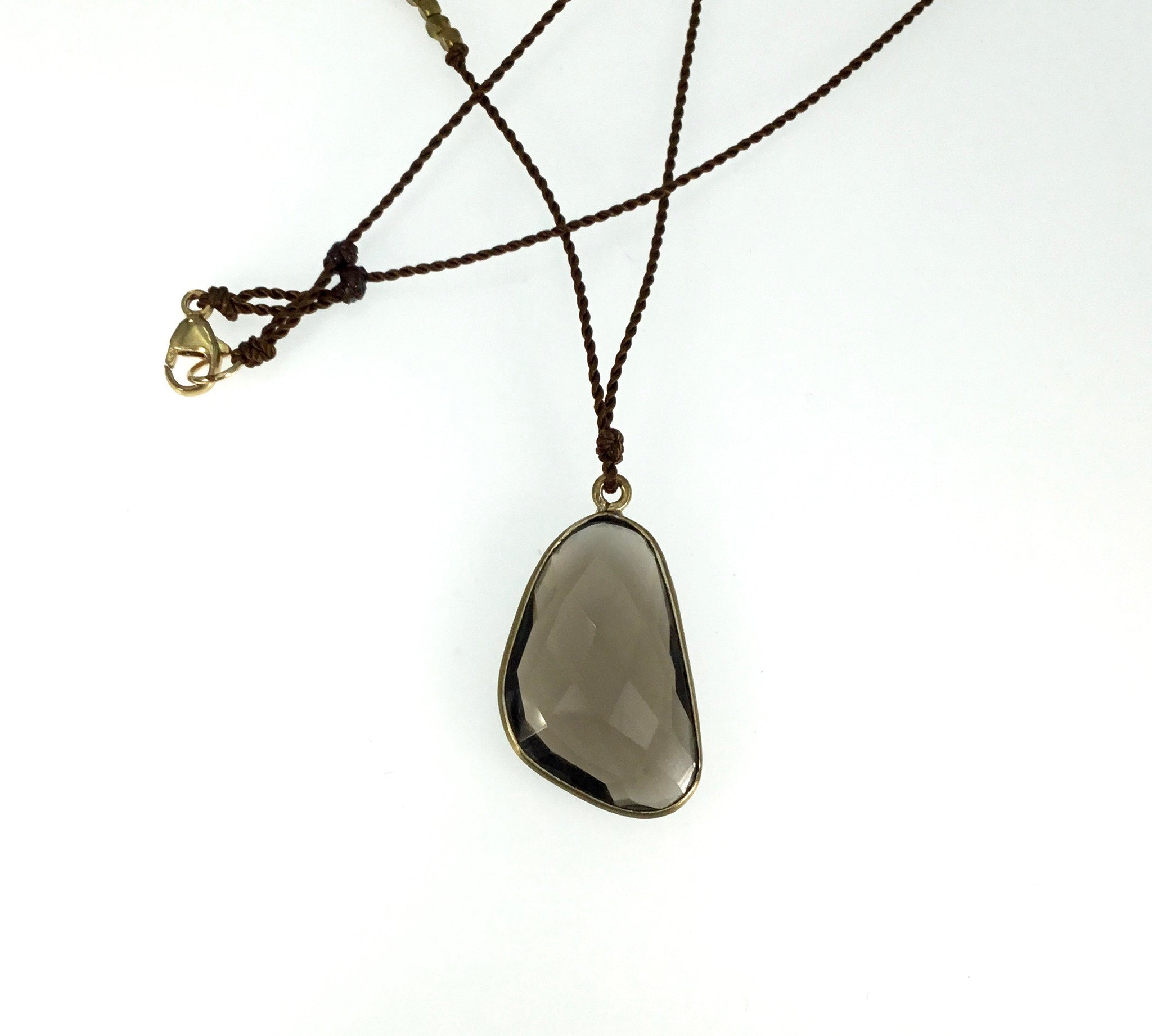 Margaret Solow Brass & Quartz Necklace