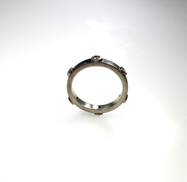 Rene Escobar Silver Ring with 6 Diamonds