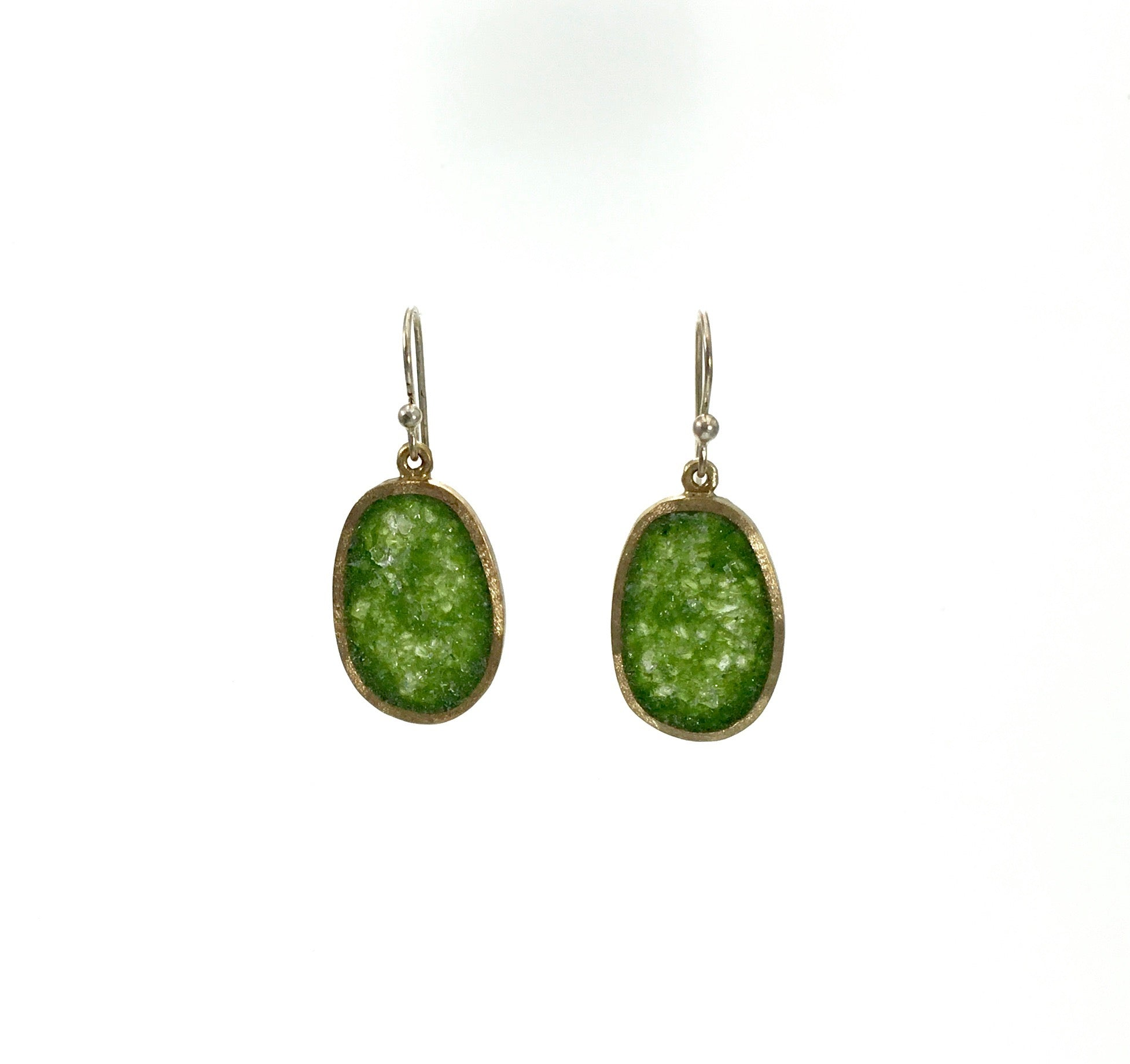 David Urso's Small Bronze Boulder Earrings in Green