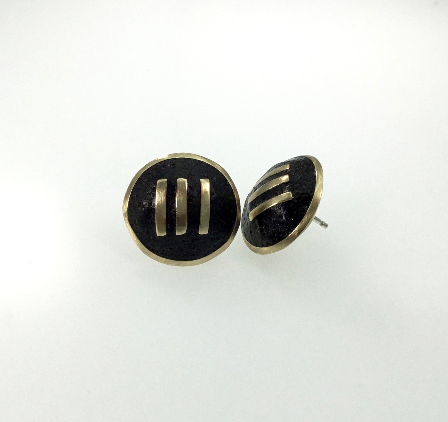 David Urso Black Tiny Symbol Earrings