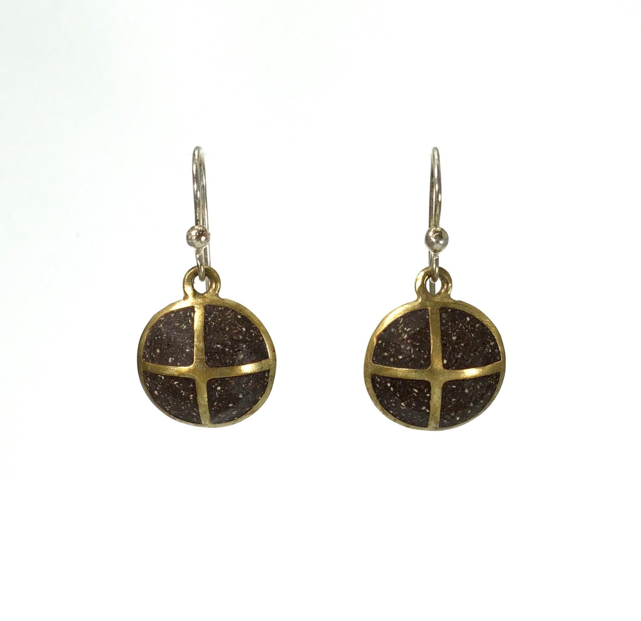 David Urso Brown Tiny Symbol Earrings