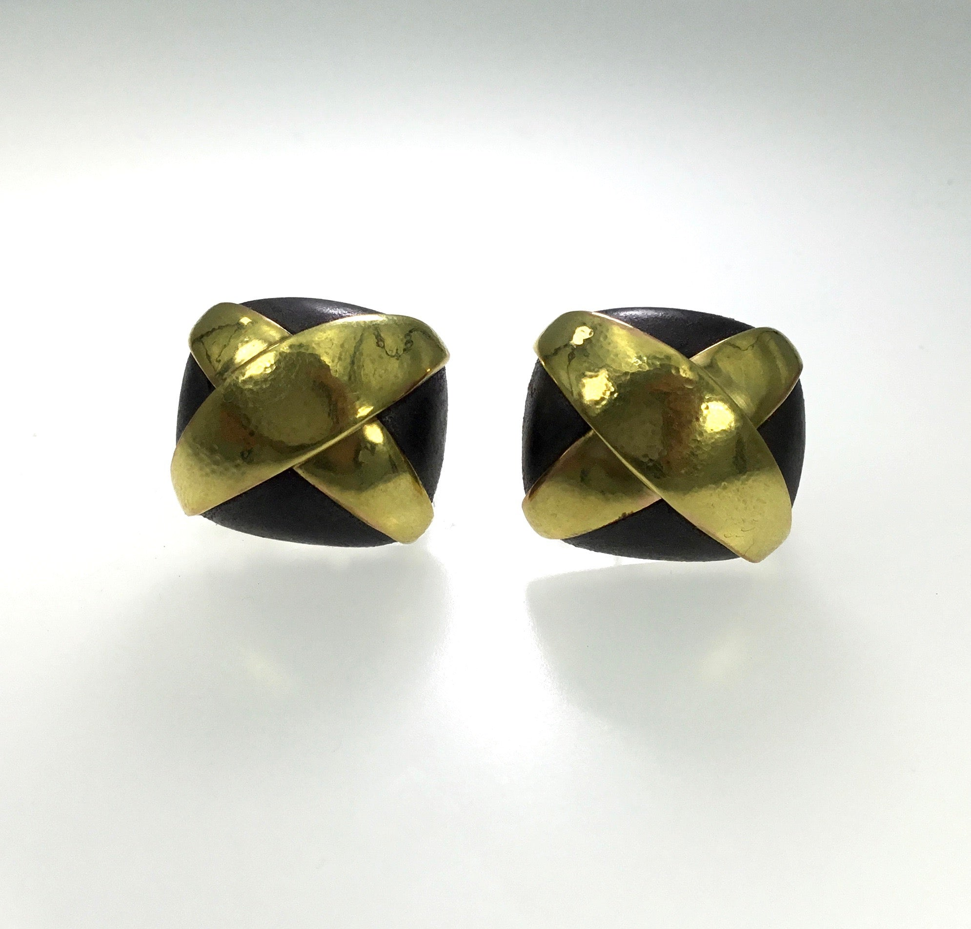 Vaubel Square Steel and Gold Button X Wrap Earrings