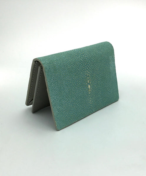 Vivo Shagreen Card Wallet in Sky