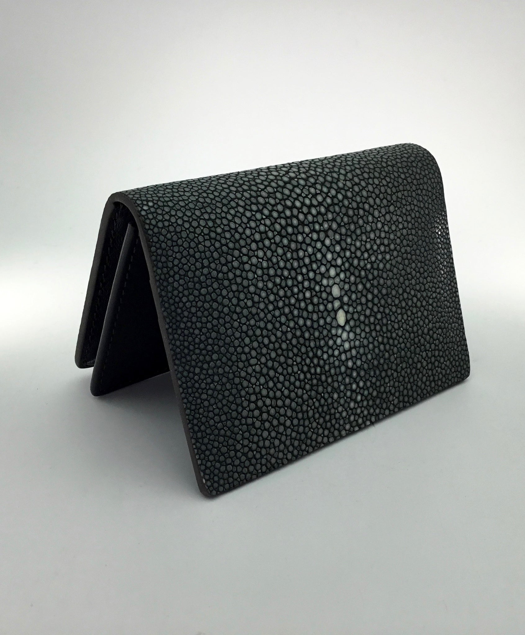 Vivo Card Wallet in Black Shagreen
