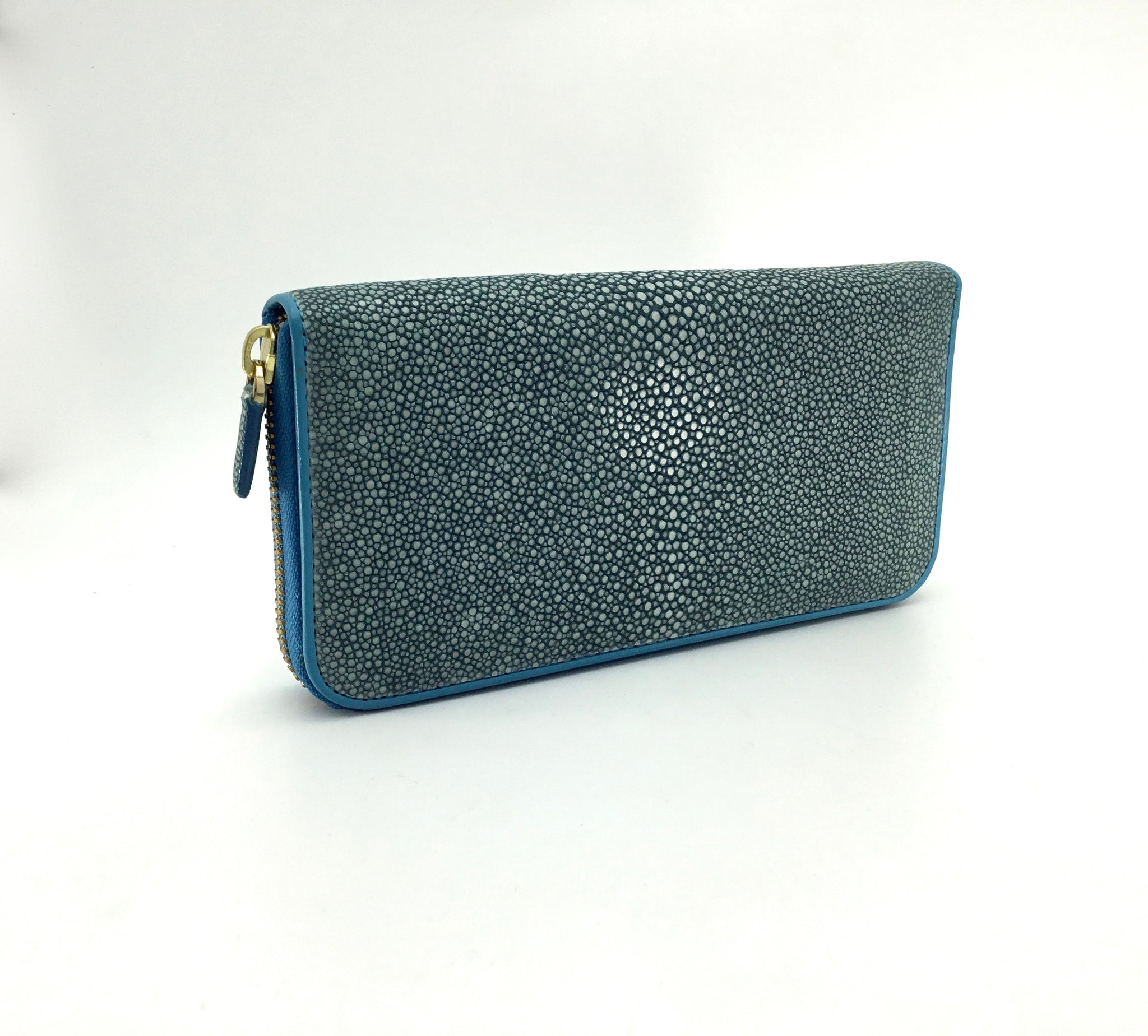 Vivo Shagreen and Leather Zippered Wallet