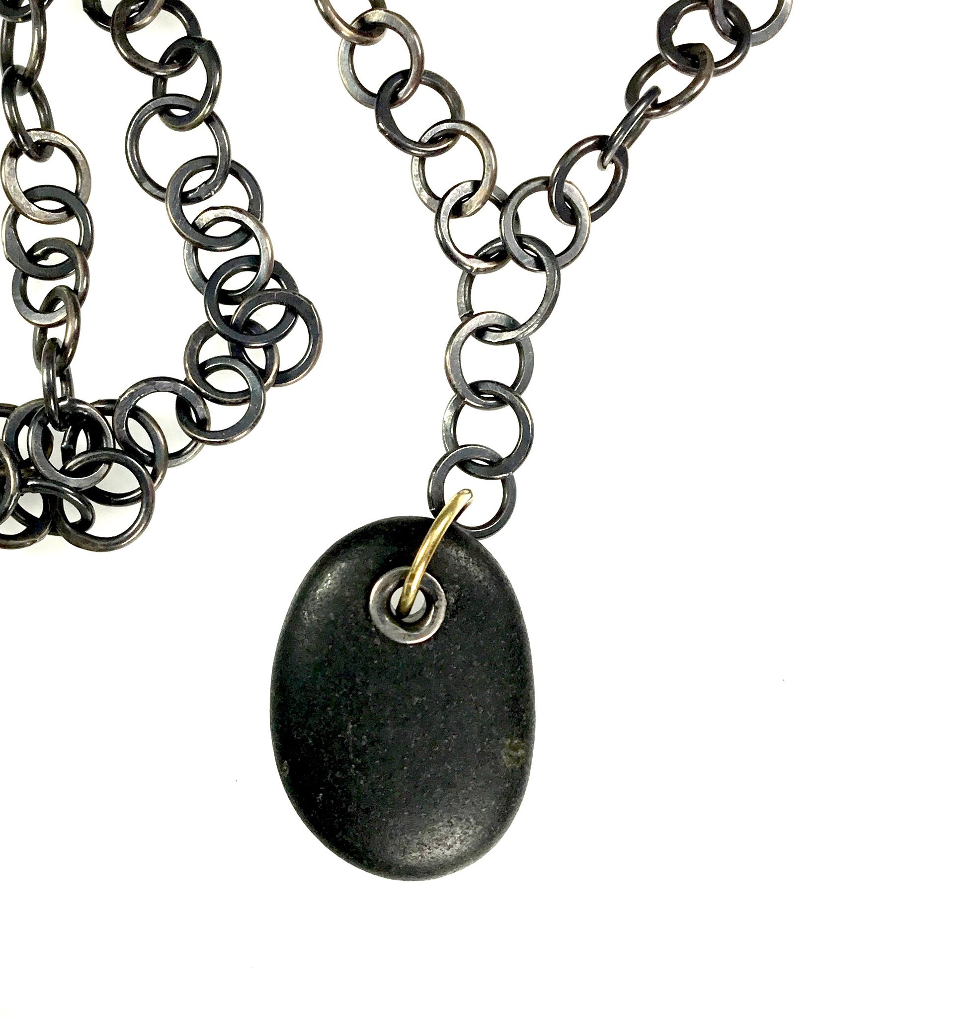 Jack Woodstock Beachstone Tube Rivet Necklace