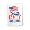Faith, Family, Freedom Kitchen Towels, 27 inch by 27 inch, 100% Cotton, Multi-Purpose Flour Sack Towels, Home and Kitchen Decor, Housewarming, Birthday, Fourth of July Gifts