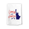Liberty and Justice for All Kitchen Towels, 27 inch by 27 inch, 100% Cotton, Multi-Purpose Flour Sack Towels, Home and Kitchen Decor, Housewarming, Birthday, Fourth of July Gifts