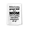 Behind Every Great Kid is a Mom, Funny Kitchen Towels, Cotton Flour Sack Highly Absorbent Multi-Purpose Hand and Dish Towel, Kitchen Gifts for Mom