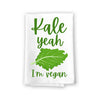 Kale Yeah I'm Vegan Funny Kitchen Towels, Flour Sack Towel, 27 inch by 27 inch, 100% Cotton, Highly Absorbent Hand Towels, Multi-Purpose Towel