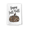 Funny Leopard Print Kitchen Towels, Happy Fall Y'All, Autumn and Fall Pumpkin Patch Decorative, Multi-Purpose Cotton Flour Sack Dish and Hand Towel