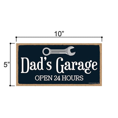 Dad's Garage Workshop Wall Sign, Gifts for Dad, 5 Inches by 10 Inches Wooden Home Decor SIgns