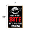 Come in for a Bite, Funny Halloween Home Decor, Wooden Wall Hanging Decorative Door Sign, 7 Inches by 10.5 Inches