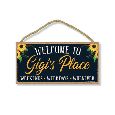 Welcome to Gigi's Place, Wooden Home Decor for Grandma, Hanging Decorative Wall Sign, 5 x 10