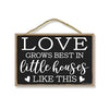 Love Grows Best in Little Houses Hanging Wooden Sign, 7 inch by 10.5 inch, Hanging Wall Art, Decorative Wood Sign, Housewarming Gifts Home Decor