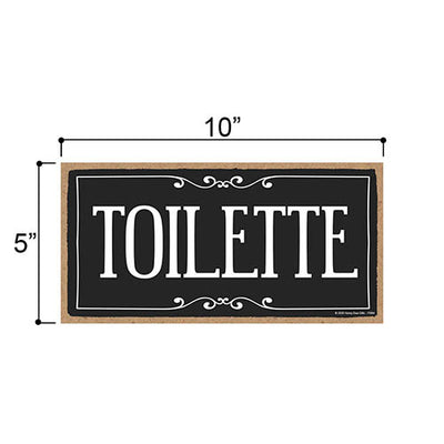 Toilette, 5 inch by 10 inch Hanging Restroom Sign, Home Office Wood Decor, Housewarming Gifts, Hanging Wooden Signs