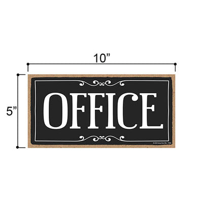 Office, 5 inch by 10 inch Hanging Door Sign, Home and Office Wood Decor, Housewarming Gifts, Hanging Wooden Signs