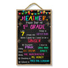 First Day of School Sign with Banners and Fireworks Design, 10 inch by 16 inch Reusable Chalkboard Decorative Hanging Wooden Sign