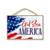 God Bless America Patriotic Wooden Signs,, 7 inch by 10.5 inch, Patriotic Hanging Sign, Decorative Wall Art, Home Office Party Decor