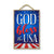 God Bless The USA Patriotic Wooden Signs, 7 inch by 10.5 inch, Patriotic Hanging Sign, Decorative Wall Art, Home Office Party Decor