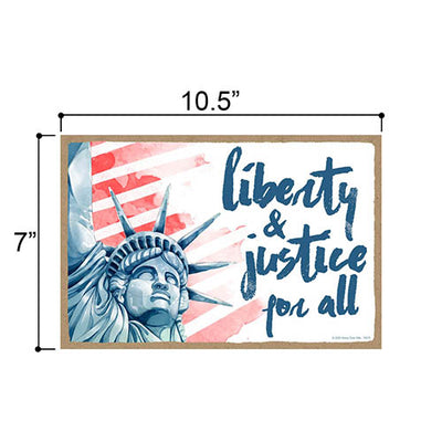 Liberty and Justice for All Patriotic Wooden Signs, 7 inch by 10.5 inch, Hanging Wooden Sign, Decorative Wall Art, Home Office Party Decor