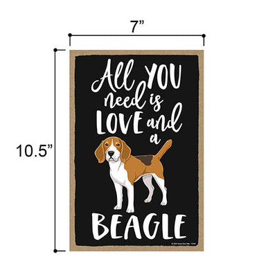 All You Need is Love and a Beagle Wooden Home Decor for Dog Pet Lovers, Hanging Decorative Wall Sign, 7 Inches by 10.5 Inches