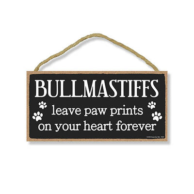 Bullmastiffs Leave Paw Prints Wooden Home Decor for Dog Pet Lovers, Decorative Wall Sign, 5 Inches by 10 Inches