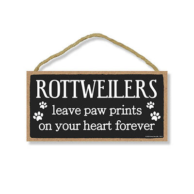 Rottweilers Leave Paw Prints Wooden Home Decor for Dog Pet Lovers, Decorative Wall Sign, 5 Inches by 10 Inches