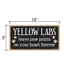 Yellow Labs Leave Paw Prints Wooden Home Decor for Dog Pet Lovers, Decorative Wall Sign, 5 Inches by 10 Inches
