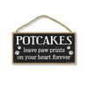 Potcakes Leave Paw Prints Wooden Home Decor for Dog Pet Lovers, Decorative Wall Sign, 5 Inches by 10 Inches